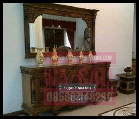 Buppet dan Kaca Hias Set, Singajatifurniture, Furniture Jati Minimalis