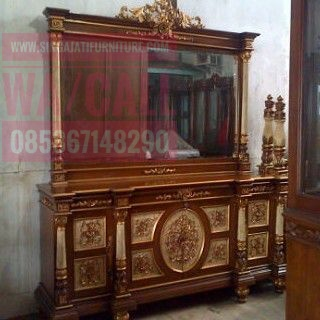 Buppet dan Kaca Hias Set, Singa Jati Furniture, Furniture Jati Minimalis