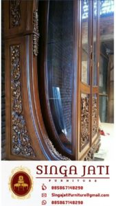 Almari Kaca Hias Rafles Ruang Tamu 2 Pintu Harga Murah