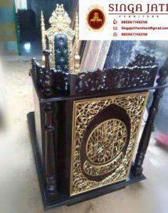 Mimbar-Masjid-Dan-Kursi-Minimalis-Ukiran-Kaligrafi-Arab