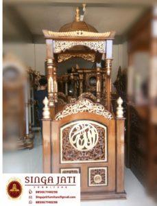Mimbar-Masjid-Ukiran-Kaligrafi-Tulisan-Allah