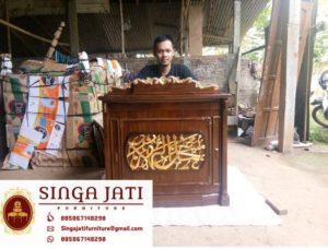 Jual Meja Kultum Ukiran Kaligrafi Kayu Jati