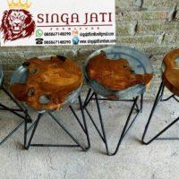 Jual Meja Kafe Resin Minimalis Kayu Jati Kaki Besi