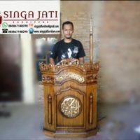 Mimbar Podium Minimalis Kaligrafi Murah Kayu Jati