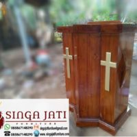 Jual Mimbar Gereja Podium Salib Kayu Jati Jakarta Timur