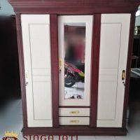 Lemari Pakaian 3 Pintu Sliding Kayu Jati Model Minimalis
