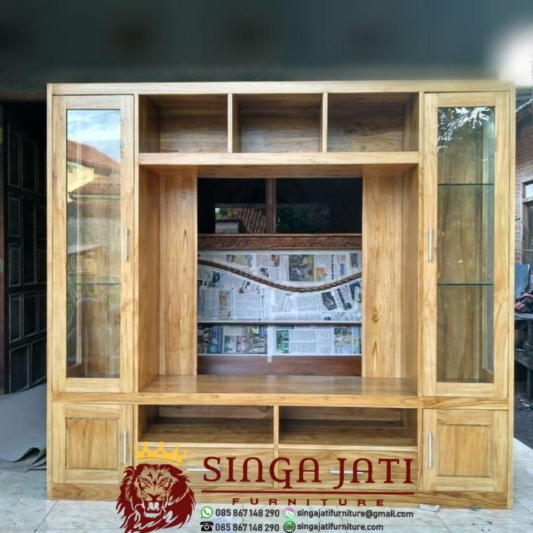 Lemari Tv Jati Terbaru Model Minimalis Singa Jati Furniture Jepara